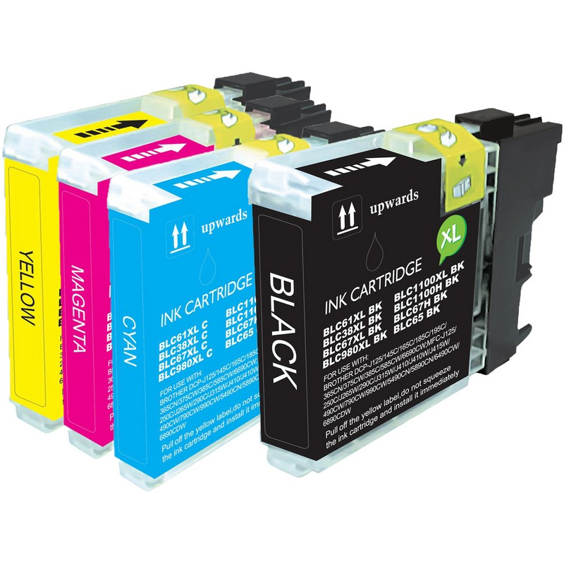 Set of 4 Brother LC61 Combo Pack Color Ink Cartridges