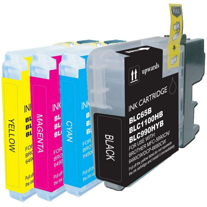Set of 4 Brother LC65 Combo Pack Color Ink Cartridges