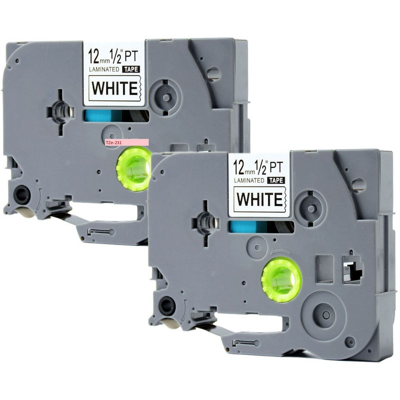 Set of 2 Brother TZe-231 Black on White P-Touch Label