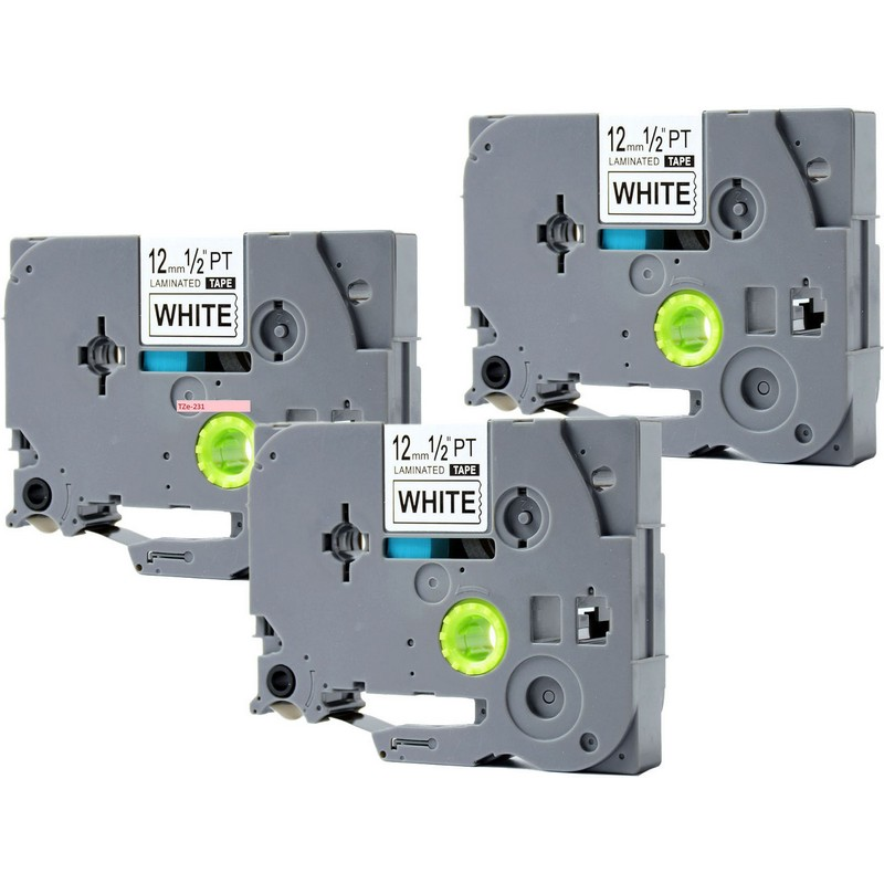 Set of 3 Brother TZe-231 Black on White P-Touch Label