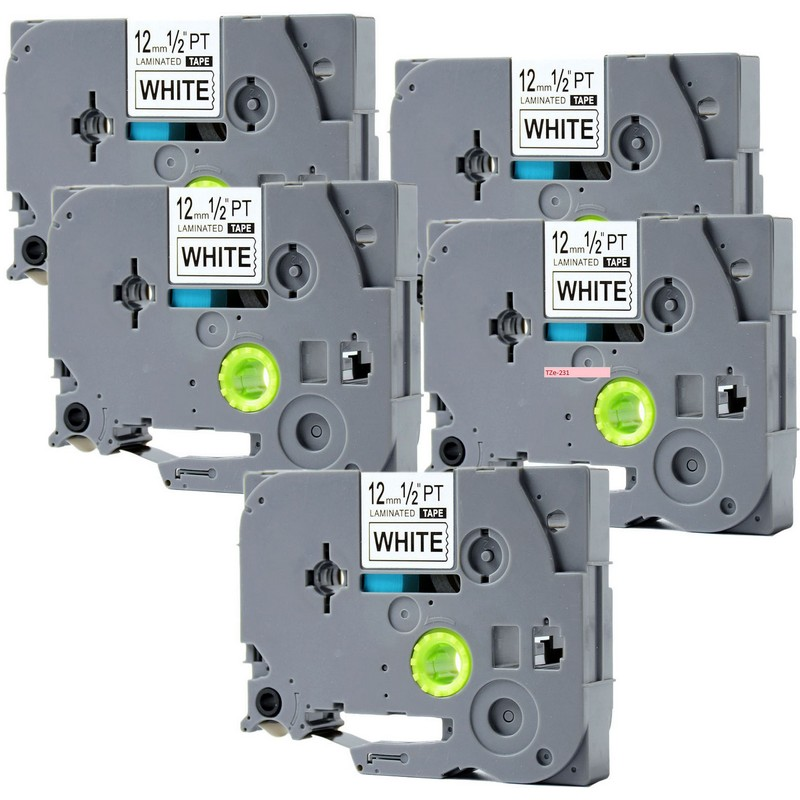 Set of 5 Brother TZe-231 Black on White P-Touch Label