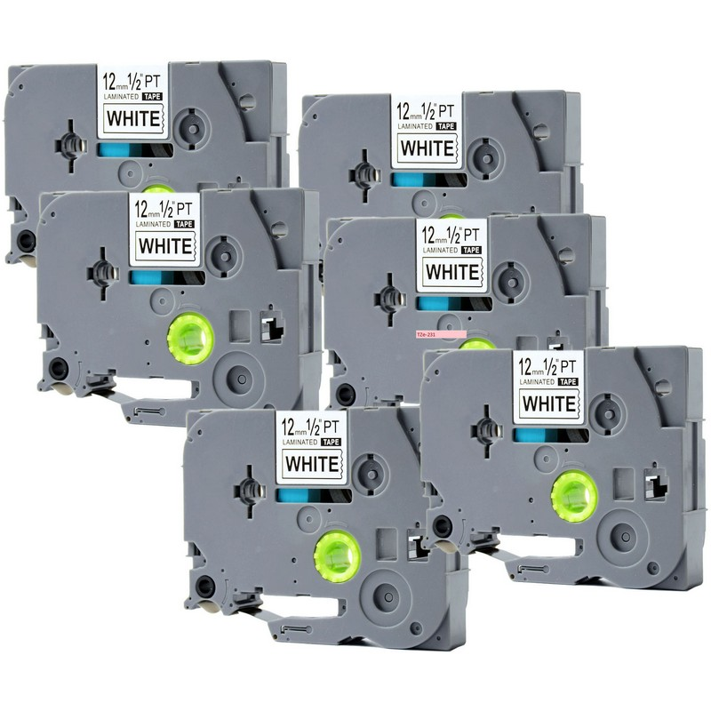 Set of 6 Brother TZe-231 Black on White P-Touch Label
