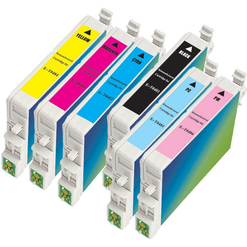 Set of 6 Epson T048 Combo Pack Color Ink Cartridges