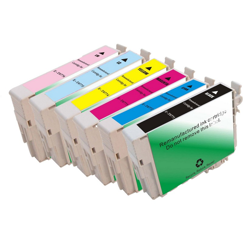 Set of 6 Epson T077 Combo Pack Color Ink Cartridges