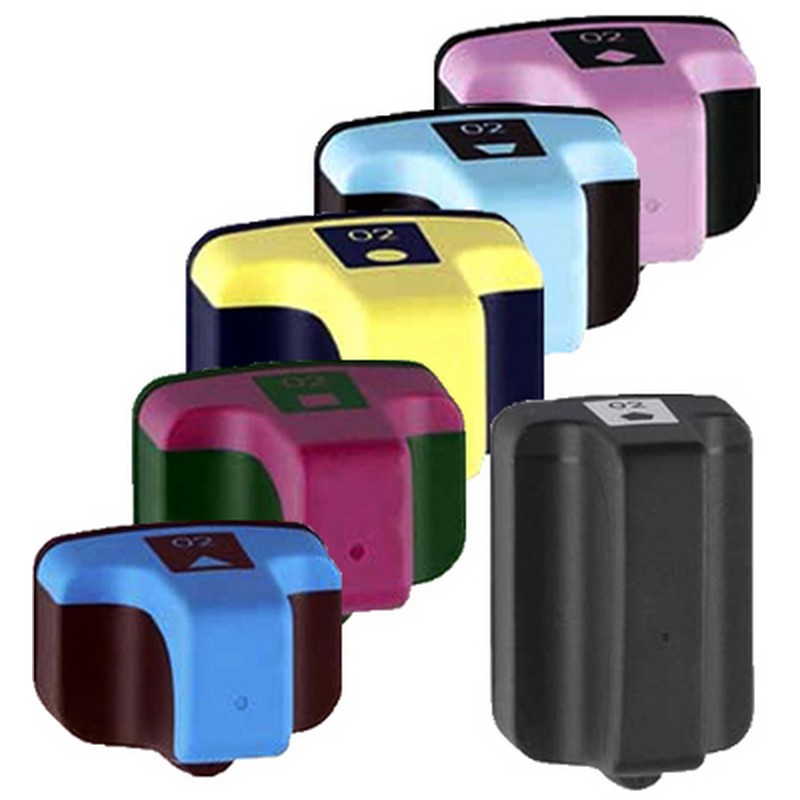Set of 6 HP 02 Combo Pack Color Ink Cartridges