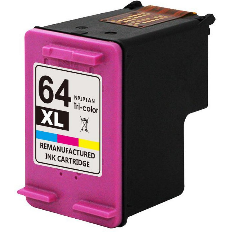 HP N9J91AN Color Ink Cartridge-HP #64XL